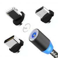 360 Derece Dönen ışıklı ve Mıknatıslı Micro Usb Şarj Kablosu-2020