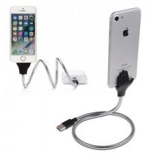 İphone ve Samsung için Hem Şarj Hem Metal Telefon Tutucu Deta Kablo