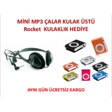 MİNİ MP3Çalar Rocket Çocuk ve Yetişkinler için Kulaküstü Kulaklık Hediye