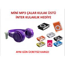 Mini mp3 Çalar İnter Kulaküstü Kulaklık Hediye