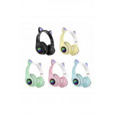 P33M Kablosuz Kedi Kulaklık Işıklı Kulaküstü Mikrofonlu Bluetooth Hafıza Kartı Girişli